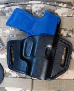 Sig Sauer, P365, Concealed Carry, Custom, Holster, Leather, OWB, Sweat Shield, Pancake